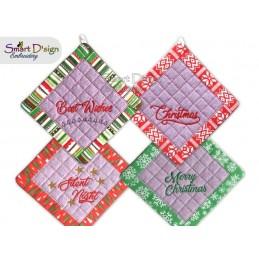 Set 4x ENGLISCHE ITH Weihnachts-Patchwork Topflappen, 3 Größen verfügbar Stickdatei