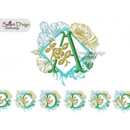 Enchanted Floral Alphabet Square Border - Select A Design