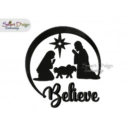 BELIEVE Christmas Nativity Scene 5x7 inch Machine Embroidery Design