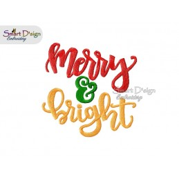 Merry & Bright 5x7 inch Machine Embroidery Design