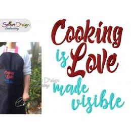 COOKING IS LOVE Küchenspruch ENGLISCH 13x18 cm Stickdatei