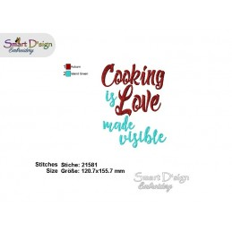 COOKING IS LOVE Kitchen Sayings 5x7 inch Machine Embroidery Design