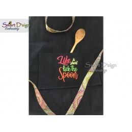 LIFE IS SHORT Kitchen Saying 5x7 inch Machine Embroidery Design