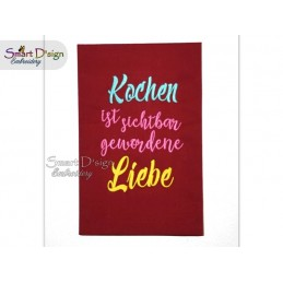 KOCHEN IST LIEBE Kitchen Saying GERMAN 5x7 inch Machine Embroidery Design
