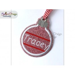 ITH NAME IT Christmas Bauble Ornament 4x4 inch Machine Embroidery Design