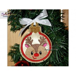 ITH REINDEER RUDOLPH Christmas Bauble Ornament 4x4 inch Machine Embroidery Design