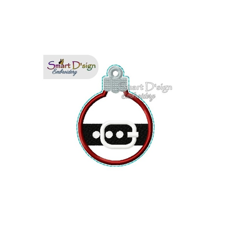 ITH SANTA BELT Christmas Bauble Ornament 4x4 inch Machine Embroidery Design