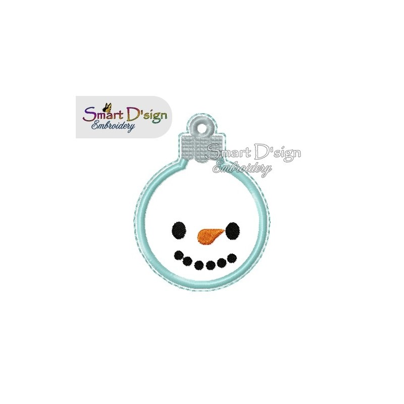ITH SNOWMAN Christmas Bauble Ornament 4x4 inch Machine Embroidery Design