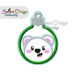 ITH POLAR BEAR Christmas Bauble Ornament 4x4 inch Machine Embroidery Design