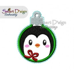 ITH PENGUIN Christmas Bauble Ornament 4x4 inch Machine Embroidery Design
