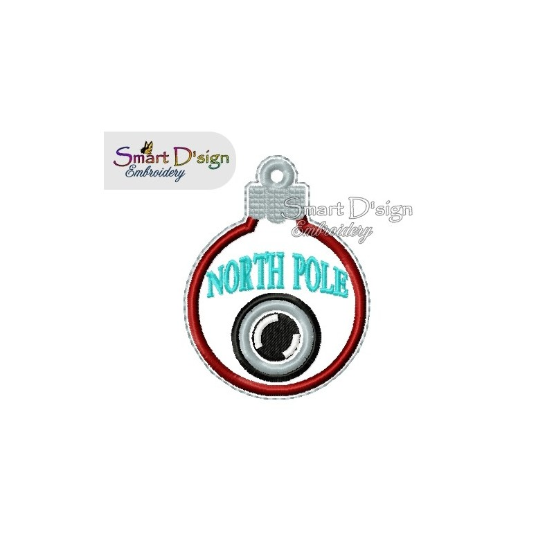 ITH NORTH POLE CAM Christmas Bauble Ornament 4x4 inch Machine Embroidery Design