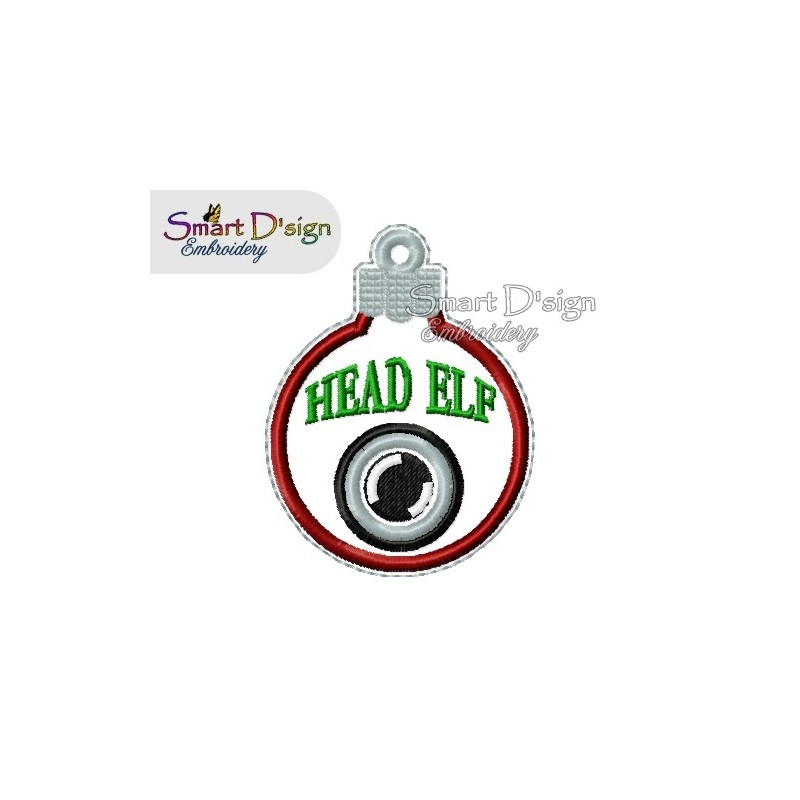 ITH HEAD ELF CAM Christmas Bauble Ornament 4x4 inch Machine Embroidery Design