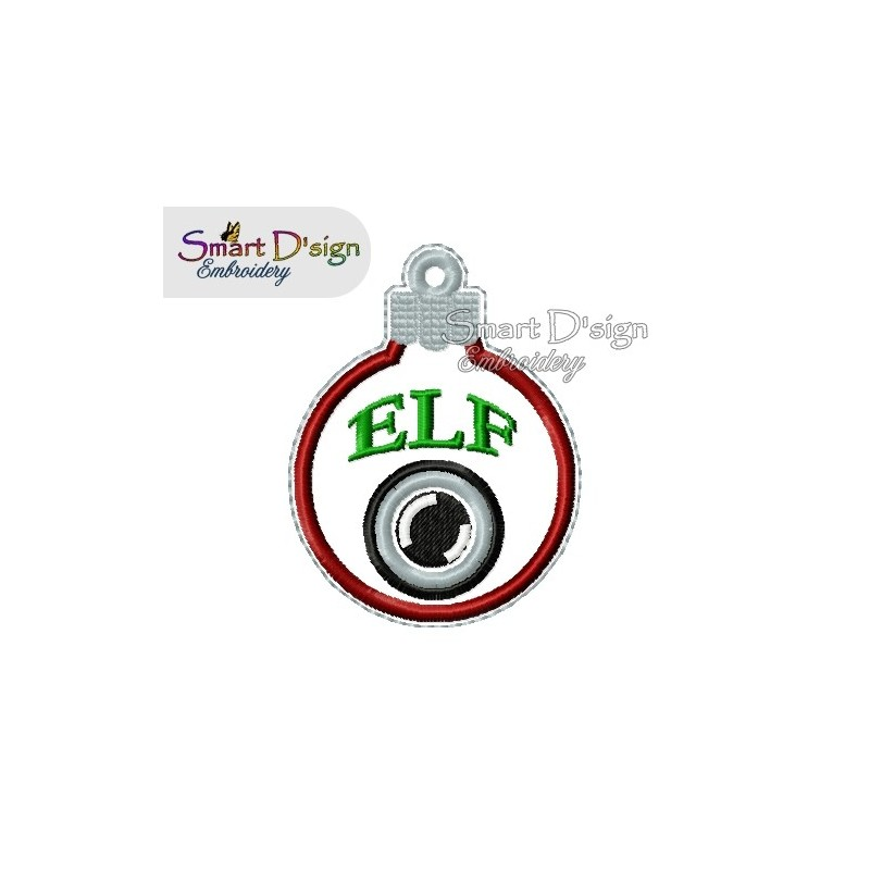 ITH ELF CAM Christmas Bauble Ornament 4x4 inch Machine Embroidery Design
