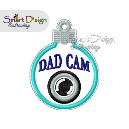 ITH DAD CAM Christmas Bauble Ornament 4x4 inch Machine Embroidery Design