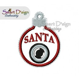 ITH Santa Cam Christmas Bauble Ornament 4x4 inch Machine Embroidery Design