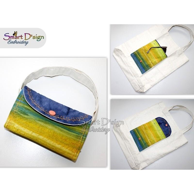 STERNE Ann's Markttasche mit ITH Täschchen - Stickdatei - Bitte Größe wählen