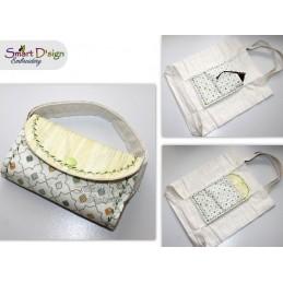 BLÄTTER Ann's Markttasche mit ITH Täschchen - Stickdatei - Bitte Größe wählen