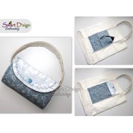 WELLEN Ann's Markttasche mit ITH Täschchen - Stickdatei - Bitte Größe wählen