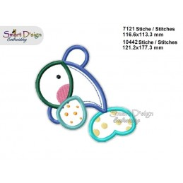 Baby DOLPHIN 2 Sizes Applique Machine Embroidery Design