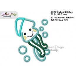 Baby JELLYFISH 2 Sizes Applique Machine Embroidery Design
