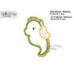 Baby SEAHORSE 2 Sizes Applique Machine Embroidery Design