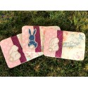 ITH 3x Quilt MugRug with Easter Bunnies Appliques 5x7 inch