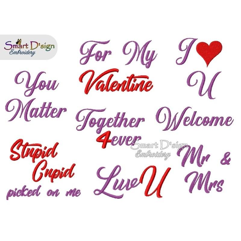 8 Englische Valentinstag Spruche 12x12 Cm Stickdatei Smart D Sign