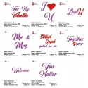 8x English Sayings for Valentine 12x12 cm Machine Embroidery Design