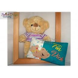 Valentins Kissenhülle Teddy Armor 1 ITH Stickdatei