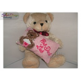 Valentins Kissenhülle Teddy Muffin ITH Stickdatei