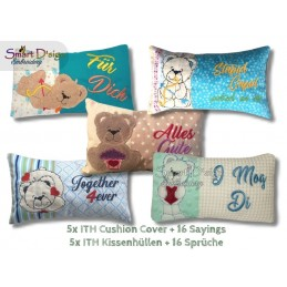 Set 5x BLANKO Valentins Kissenhüllen Teddy Applikation ITH Stickdatei