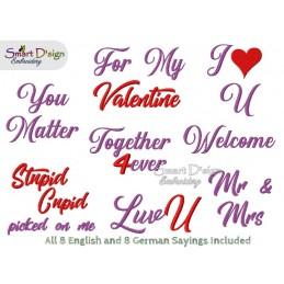 Set 5x BLANK Valentine Teddy Applique ITH Machine Embroidery Design