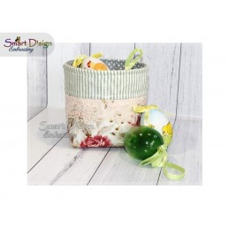 ITH Organiser Basket Vintage Patchwork Style Machine Embroidery Design