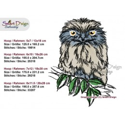 Tawny Frogmouth Australian Animal Machine Embroidery Design