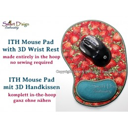 ITH Mouse Pad with 3D Wrist Rest Cushion Machine Embroidery Design