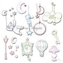 Süße Träume Teddy - Redwork Doodle 10x10 cm