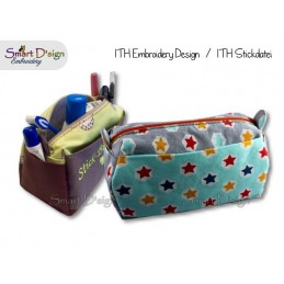 ITH Spacious Cosmetic Utility Bag with 3 Outside Pockets Machine Embroidery Design