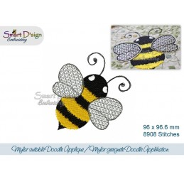 Mylar Bee Doodle Applique 4x4 inch Machine Embroidery Design