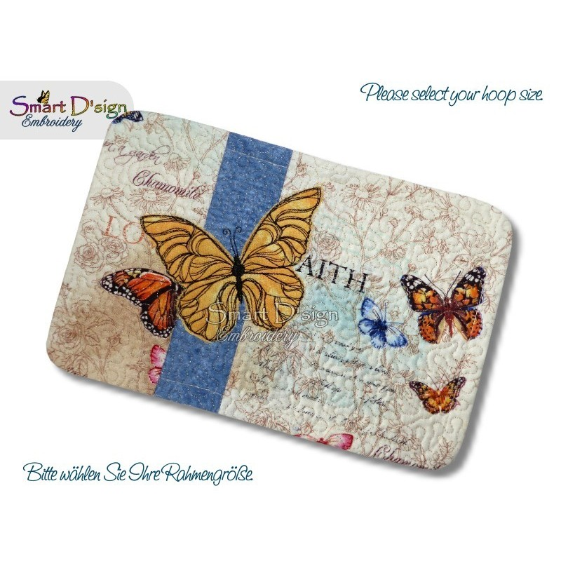 ITH Quilt MugRug with Raw Applique Butterfly Machine Embroidery Design