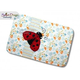 ITH Quilt MugRug with Raw Applique Ladybug Machine Embroidery Design