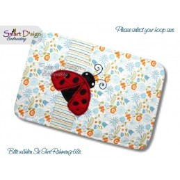 ITH Quilt MugRug with Raw Applique Ladybug Machine Embroidery Design
