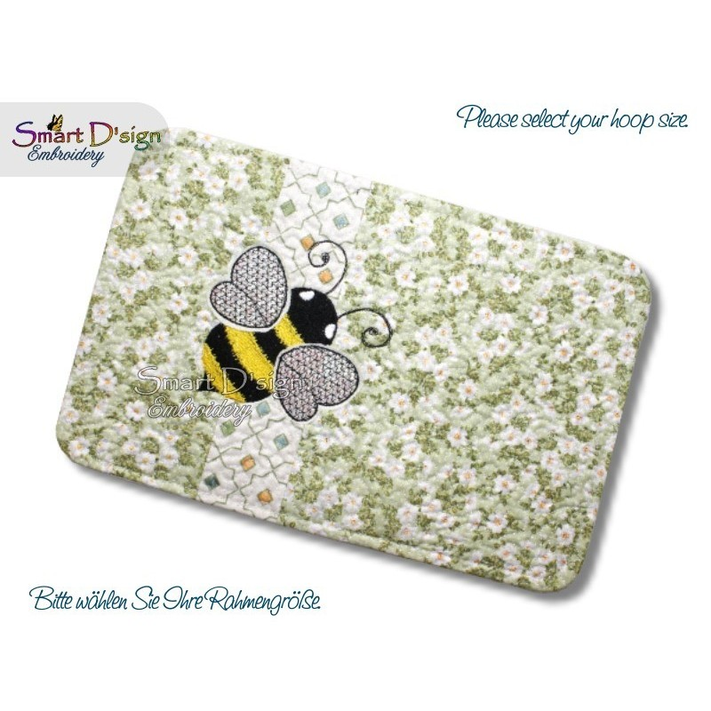 ITH Quilt MugRug with Raw Applique Bee Machine Embroidery Design