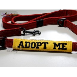 ADOPT ME - ITH Leash Safety Wraps Yellow Dog Ribbon 5x7 inch Machine Embroidery Design