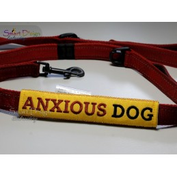 ANXIOUS DOG - ITH Leash Safety Wrap Yellow Dog Ribbon 5x7 inch Machine Embroidery Design