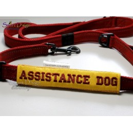 ASSISTANCE DOG - ITH Leash Safety Wrap Yellow Dog Ribbon 5x7 inch Machine Embroidery Design