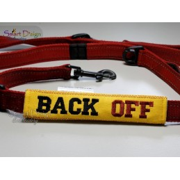 BACK OFF - ITH Leash Safety Wrap Yellow Dog Ribbon 5x7 inch Machine Embroidery Design