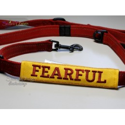 FEARFUL - ITH Leash Safety Wrap Yellow Dog Ribbon 5x7 inch Machine Embroidery Design