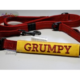 GRUMPY - ITH Leash Safety Wrap Yellow Dog Ribbon 5x7 inch Machine Embroidery Design