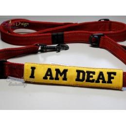 I AM DEAF - ITH Leinen Sicherheits-Überzieher - Gelber Hund Projekt 13x18 cm Stickdatei