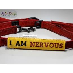 I AM NERVOUS - ITH Leinen Sicherheits-Überzieher - Gelber Hund Projekt 13x18 cm Stickdatei